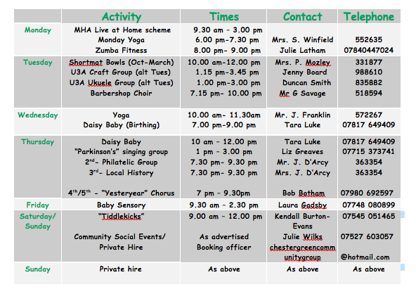 chester green community group weekly timetable